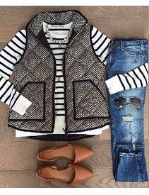 Cute preppy outfit. Love the stripes and the padded vest.