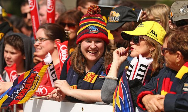 Adelaide Crows fans @ Toyota AFL Grand Final Parade.