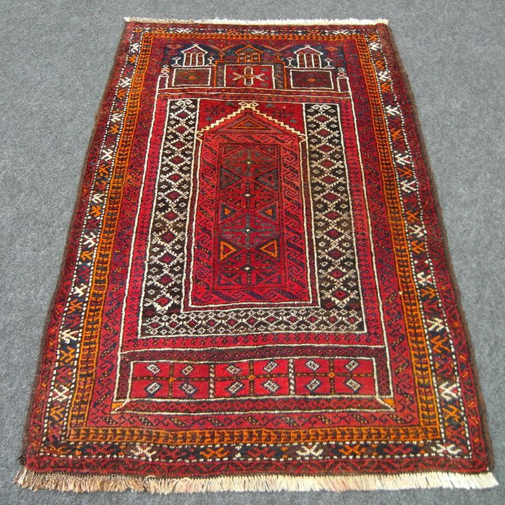 Orient Teppich Alt 137 x 90 cm Belutsch Afghan Rot Gebetsteppich Old Carpet Rug