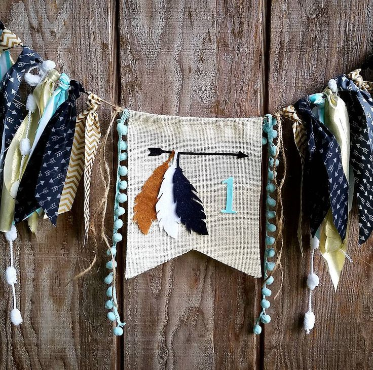 Aztec birthday highchair banner,feathers, teepee, pow wow, Tribal theme for boy or girl, arrows,archery,garland,photo prop by PrettyLittleClippie on Etsy https://www.etsy.com/listing/246284403/aztec-birthday-highchair-bannerfeathers