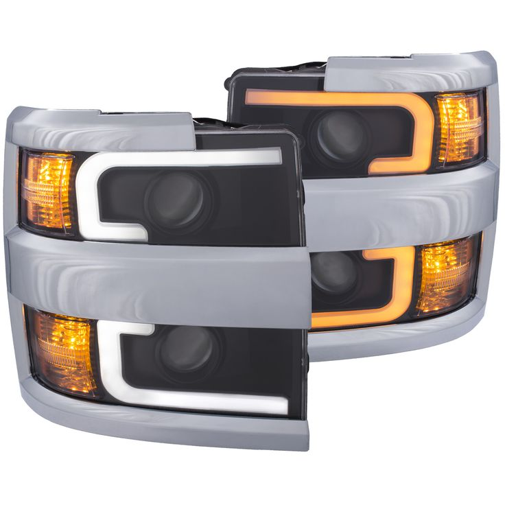 ANZO 2015-2017 Chevrolet Silverado 2500HD 3500HD Black with Chrome Rim Projector Headlights (Set of 2)