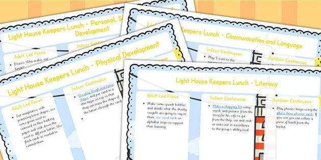 The Lighthouse Keepers Lunch Lesson Plan and Enhancement Ideas EYFS - EYFS, ideas