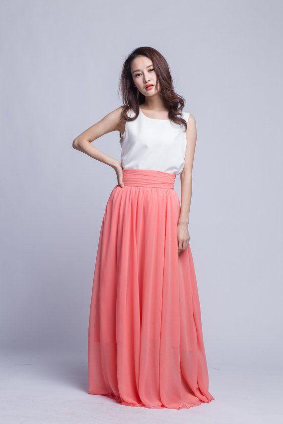 05a542df5d Chiffon Maxi Skirt High Waist Long Skirt Beautiful Pleated Waist Summer Skirt  Floor Length Women Ski
