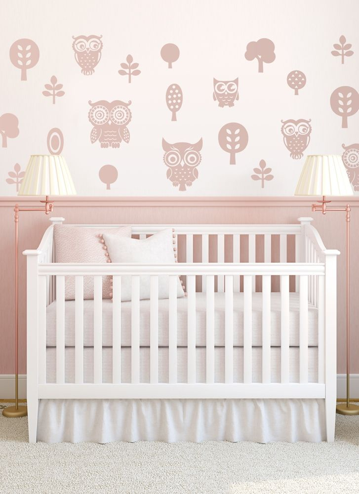 Awwwwwwwwwwww! Owl wall stickers - so sweet! Nursery with adorable owl forest - wall decal available in different colours and sizes.