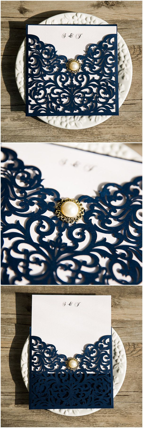 elegant navy blue laser cut wedding invitations with pearl @elegantwinvites