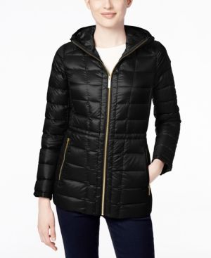 Michael Michael Kors Petite Hooded Packable Down Puffer Coat, Only at Macy's - Black P/XS