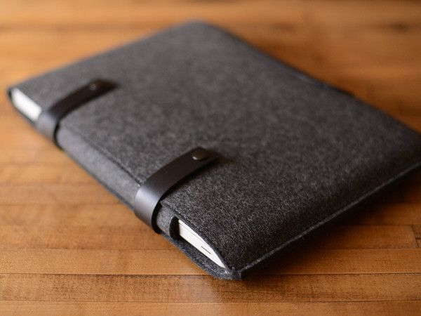 this is so sexy - MacBook Pro Sleeve - Charcoal Grey Felt & Black Leather Patch, Straps by byrd & belle