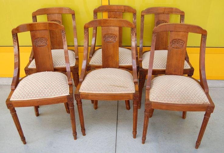 6 sedie gondoline deco in mogano inizio '900 seduta imbottita scolpite con fiori