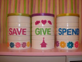 Save Give Spend. I like the idea of jars that the kids can decorate themselves.