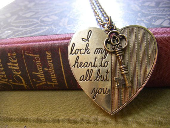 """Hearts:  #Heart and #Key #Necklace. """"I lock my heart to all but you."""""""