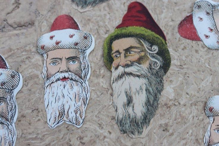 Oblate, Glanzbilder,Scraps Weihnachtmänner Papier-Lithos ca. 40 Stück!