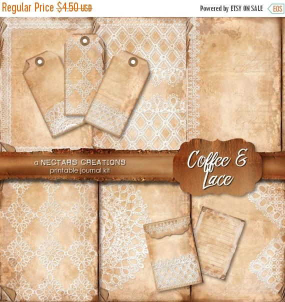 ON SALE COFFEE & Lace Printable Junk Journal by NectarsCreations