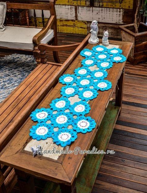 Салфетка-дорожка «Бирюзовые цветы» крючком (1)