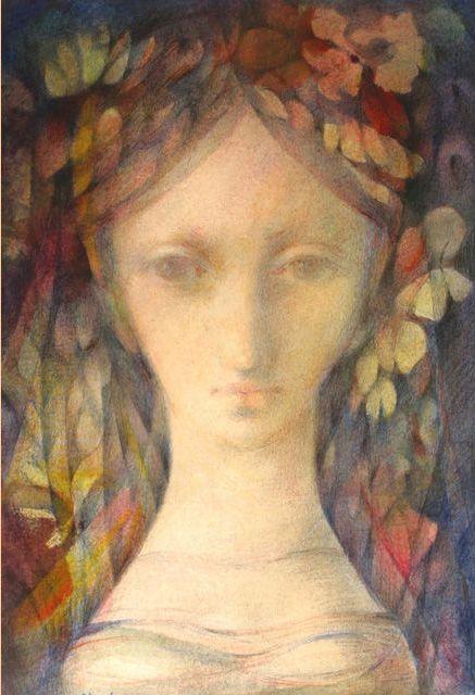 "Illustration by Ludmila Jiřincová (1912-1994), ""Girl with a Veil"", mixed media on cardboard."