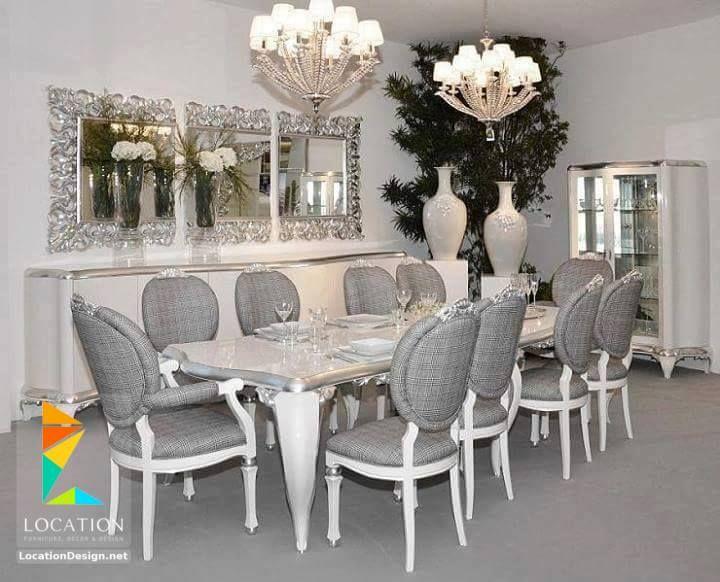 موديلات غرف سفره مودرن وغرف سفرة كلاسيك بتصميمات جديدة جدا Silver Living Room Decor Luxury Dining Room Black Dining Room
