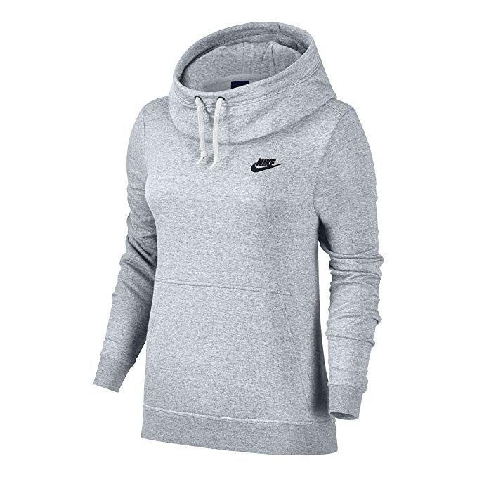 Amazonsmile Nike Sportswear Women S Funnel Neck Hoodie Black Black Black White Medium S Nike Sportswear Women Funnel Neck Hoodie Nike Long Sleeve
