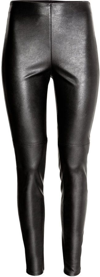 H&M - Imitation Leather Leggings - Black - Ladies. Buy online now, one click will route to their official site.