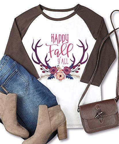 42f0b0f084097 Chic SUNFLYLIG Women Plus Size Christmas Deer Printed Baseball T-Shirt  Happy Fall Y