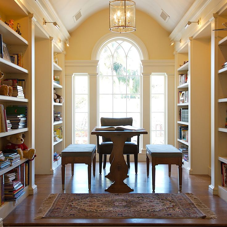 A library, a work room, a breakfast room, a large dining room, a hallway.  Elegantly flexible. By Steve Giannetti, Architect.
