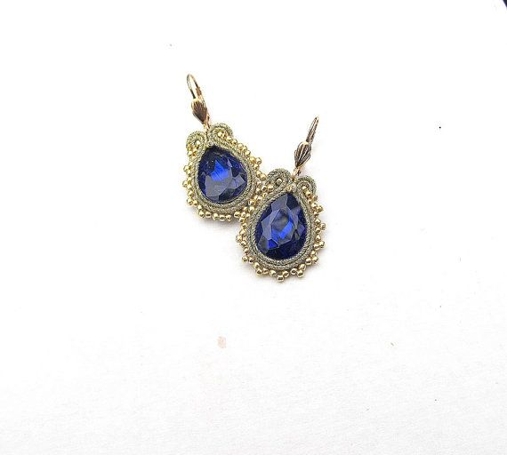 Bold Bridal Drop Earrings Cornflower Gold by GiSoutacheJewelry