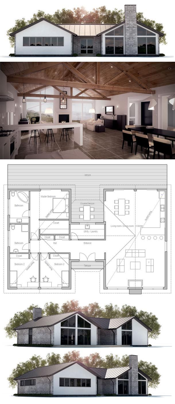 25 best ideas about simple floor plans on pinterest for Modern ranch plans