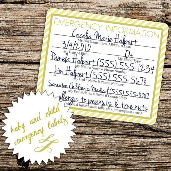 printable car seat emergency labels for baby  infant