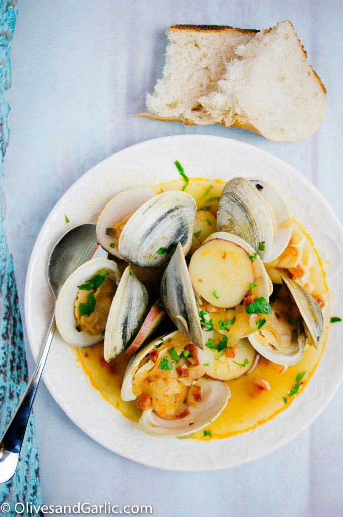 Steamed clams with chorizo in a light white wine broth
