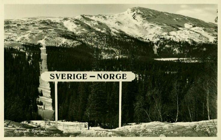 Riksgrensen mellom Sverige Jämtland og Norge Trøndelag ved Storlien 1950-tallet
