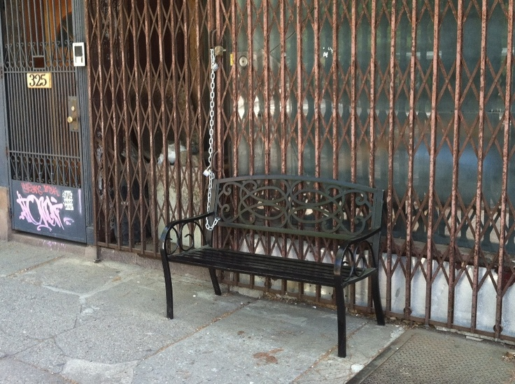 Shopfront Bench in front of Empty Store Front - 325 Fifth Avenue, Brooklyn, NY 11215 - Photo: Eric McClure