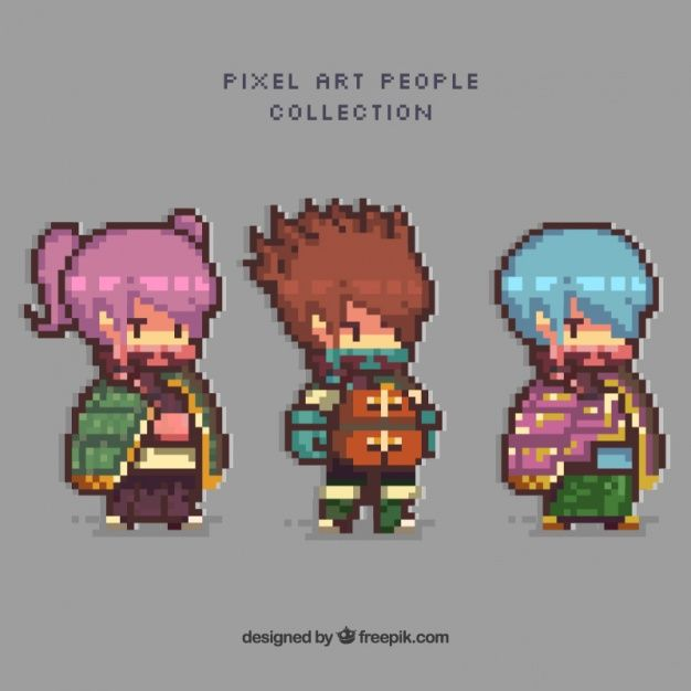 ... of video game characters in pixel art style Vector | Free Download