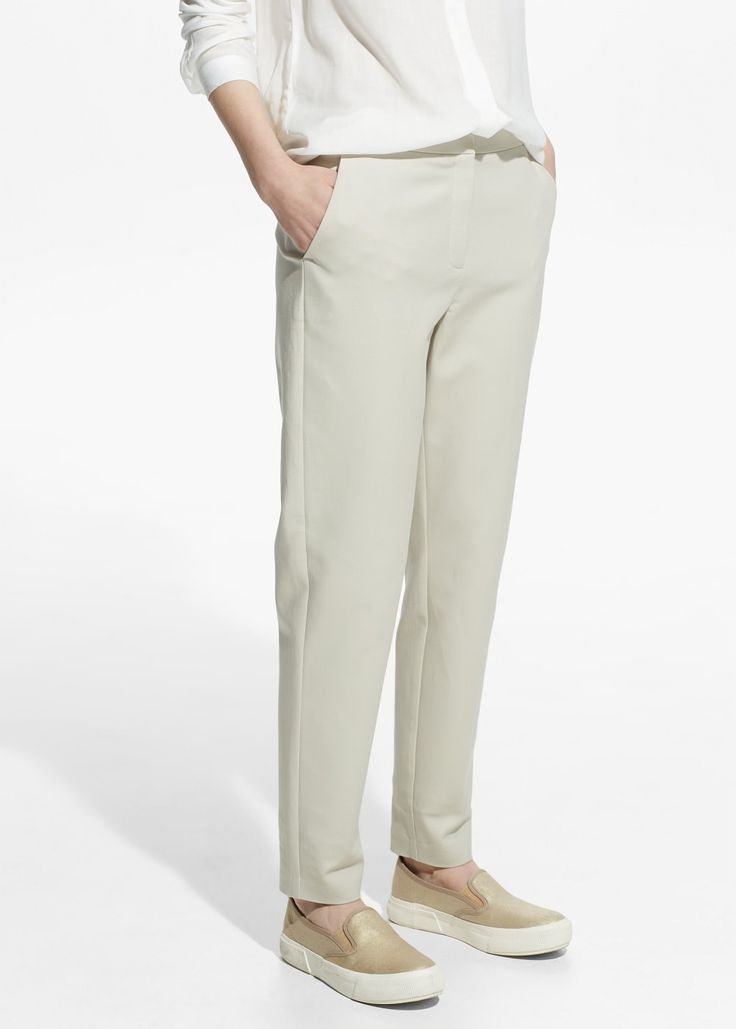 Slim-fit cotton-blend trousers - and black and navy