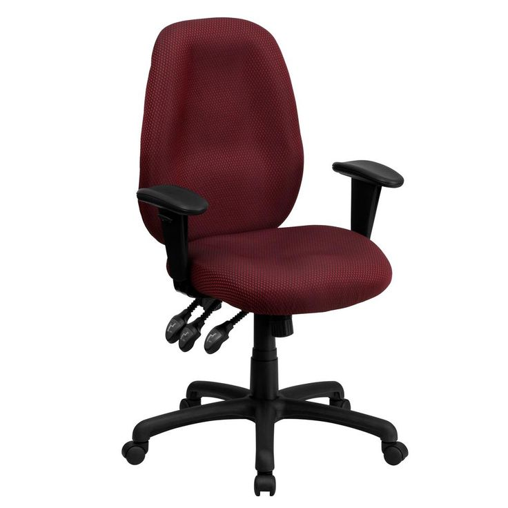 High Back Burgundy (Red) Fabric Multi-Functional Ergonomic Executive Swivel Office Chair with Height Adjustable Arms