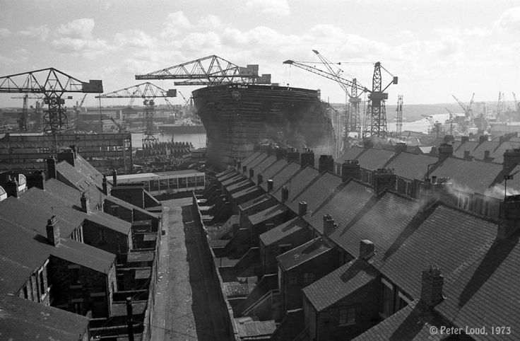 Tanker & Houses near Swan Hunter Shipyard during the construction of World Unicorn, Wallsend, by Peter Loud, 1973