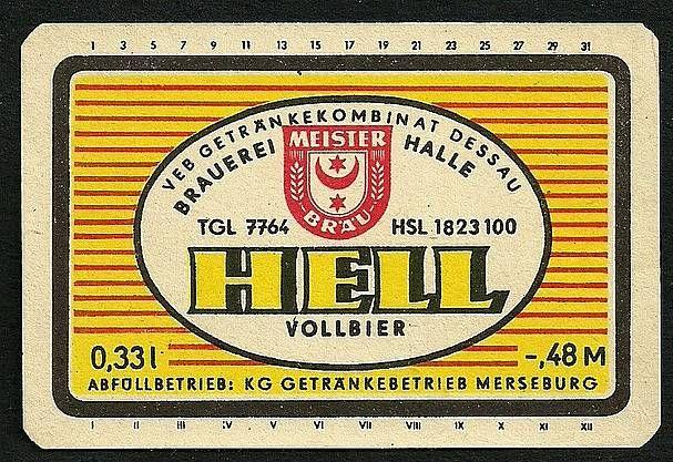DDR Bieretikett GK Dessau, Brauerei Halle, Abfüllung Merseburg, Sachsen-Anhalt