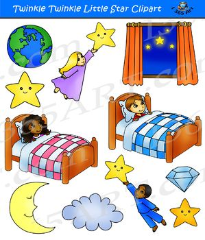 Twinkle Twinkle Little Star - Nursery Rhymes Clipart Set This Set contains 21 clipart graphics for the nursery rhyme song Twinkle Twinkle Little Star. There are 11 full color and 10 black and white graphics. Each file is approximately 300 DPI and in transparent PNG format.