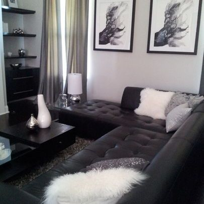 black couch grey walls living room - Google Search