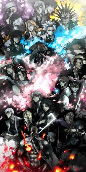 Gotei 13 Captains & Lieutenants | Yamamoto Genryuusai Shingekuni, Sasakibe Choujirou, Soifon, Omaeda Marechiyo, Ichimaru Gin, Kira Izuru, Unohana Retsu, Kotetsu Isane, Aizen Sousuke, Hinamori Momo, Kuchiki Byakuya, Abarai Renji, Komamura Sajin, Iba Tetsuzaemon, Kyouraku Shuunsui, Ise Nanao, Tosen Kaname, Hisagi Shuuhei, Hitsugaya Toushirou, Matsumoto Rangiku, Zaraki Kenpachi, Kusajishi Yachiru, Kurostuchi Mayuri, Kurotsuchi Nemu, Ukitake Juushiro, Shiba Kaien