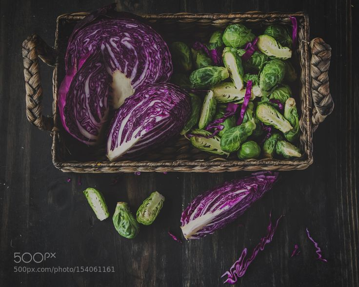 Pic: cabbage and brussle sprouts in a basket