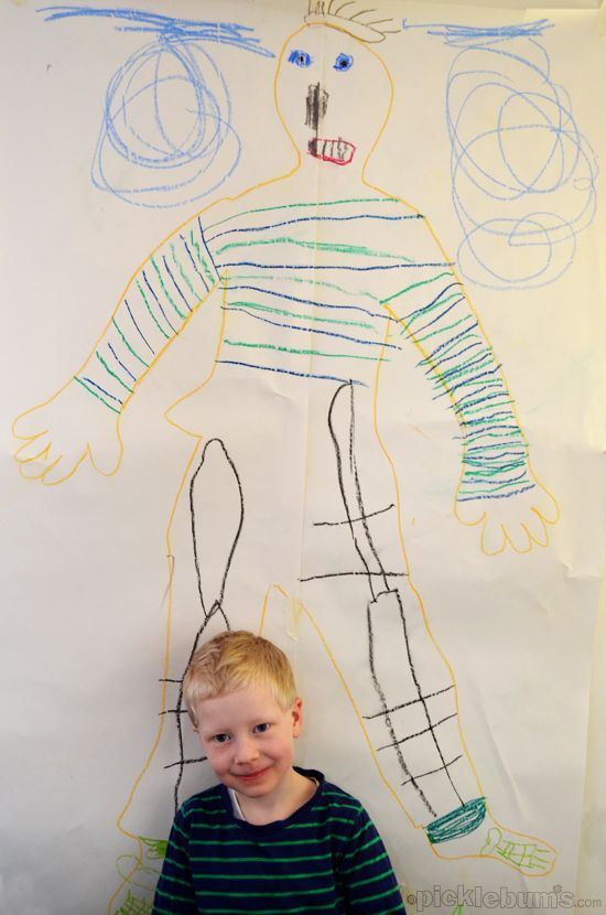 drawing myself - an old idea that is still new and exciting to my kids