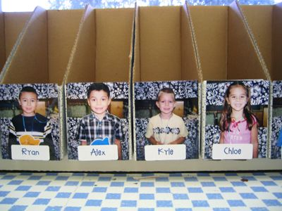 Student folder organizing idea - At beginning of year ask parents to send in an empty cereal box when they can.
