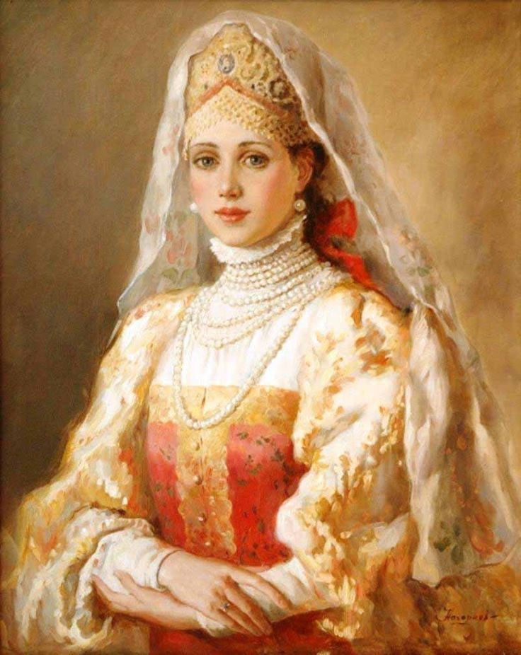 Russian costume in painting. Vladislav A. Nagornov. Boyaryshnya in a Veil. 2011 - 2012. A boyaryshnya is a noble girl in medieval Russia. #art #painting #Russian #costume