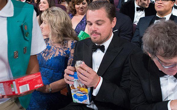 Leo eating Girl Scout Cookies at the Oscar's.