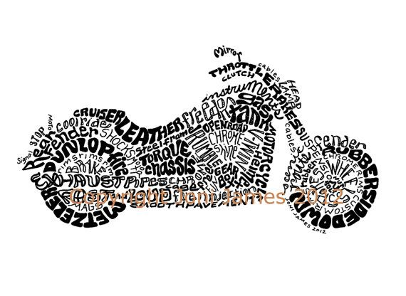 Classic Cruiser Motorcycle Drawing Harley Davidson Art, Motorcycle Art Typography Illustration, Motorcycle Calligram Print, Biker Chic Art on Etsy, $19.50