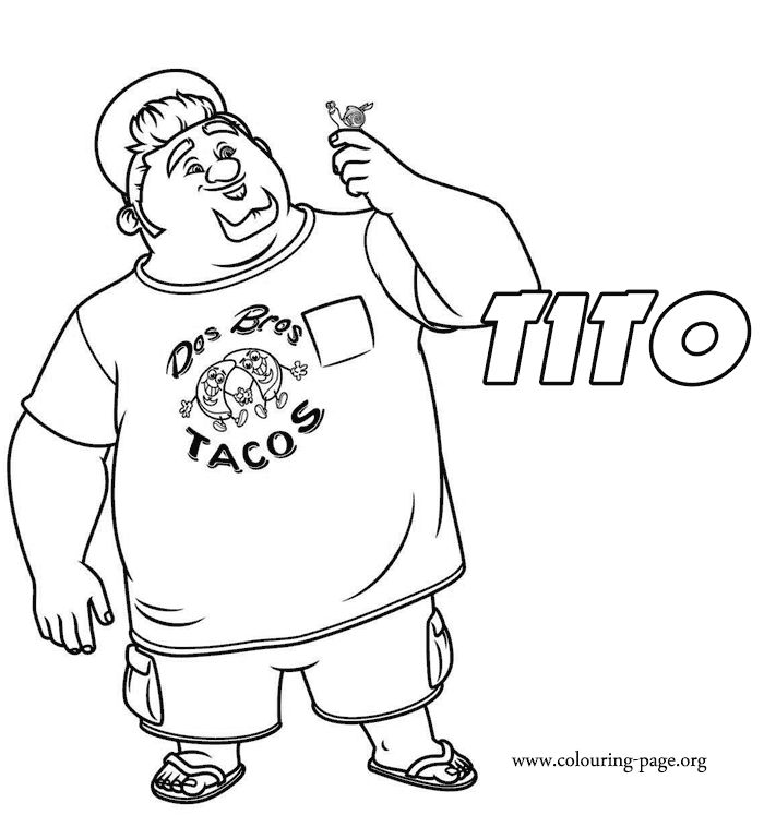 In this amazing coloring sheet for kids is Tito, a dreamer and Angelo´s brother. Have fun with this picture from Turbo movie!
