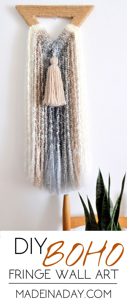 Boho Triangle Fringe Wall Art, Easy DIY Wall Hanging made from foam and ombre boucle yarn, bohemian fringe, ombre yarn  via @madeinaday