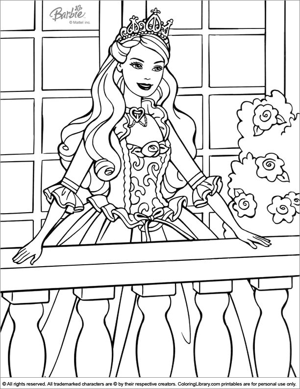 Barbie Coloring Page On The Balcony