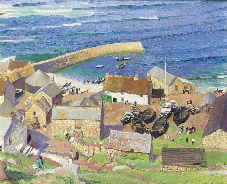 DAME LAURA KNIGHT, R.A., R.W.S. 1877-1970  oil on canvas  Notes: The small fishing village of Sennen is situated a little way up the coast from Land's End and was a favourite spot for a number of the Newlyn artists. Having moved to Cornwall from Staithes in 1907, Laura Knight and her husband Harold painted all along the coastline of West Penwith and many of the locations appear over and over again
