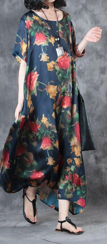 summer 2017 blue print casual silk dresses short sleeve maxi dress