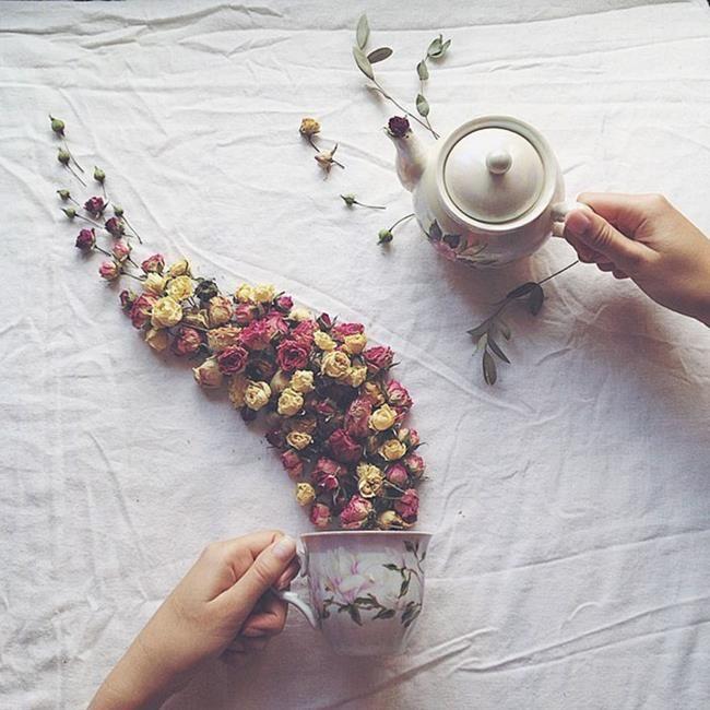 Rus Sanatçı Marina Malinovaya'dan Fincan ve Çiçeklerle Yapılmış 20 Muazzam Çalışma Sanatlı Bi Blog 5