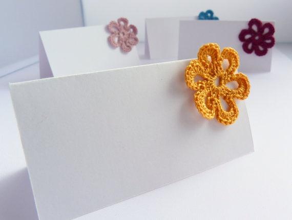 Place Cards Wedding Crochet Flower Custom Choose Your by imynda, £1.00